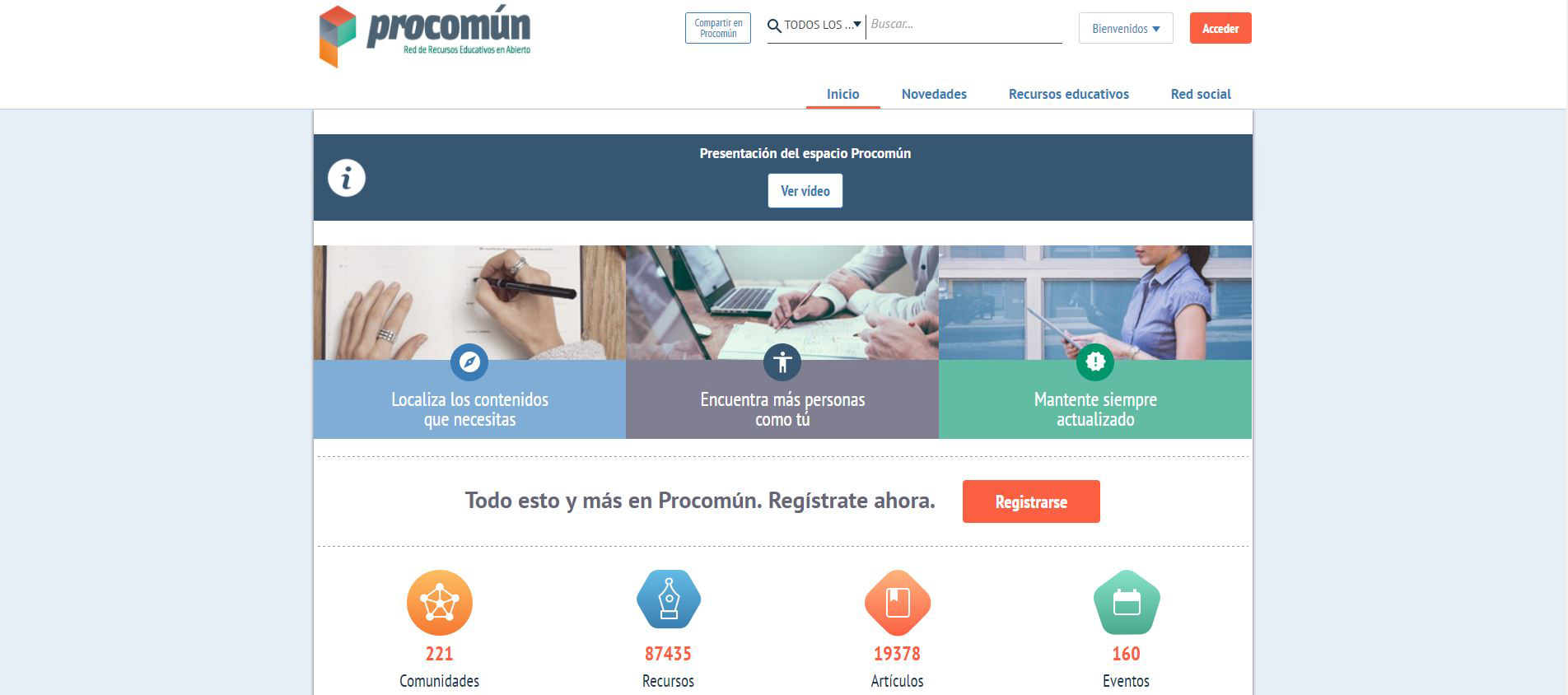 Procomun, the portal to share educational resources that combines Drupal and Java